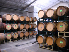 Barrels in the new winery